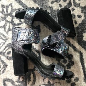 Shoes - FOREVER 21 Size 5.5 HOLOGRAPHIC HEEL ANKLE STRAP